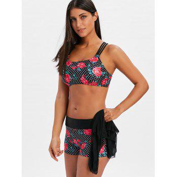 Boyshort Rose Polka Dot Swimsuit - BLACK L