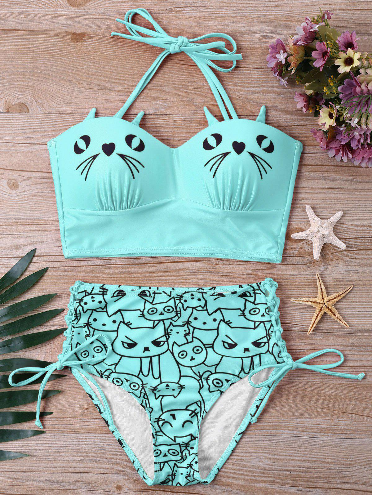 Cat Print High Waist Halter Bikini Set - MACAW BLUE GREEN XL