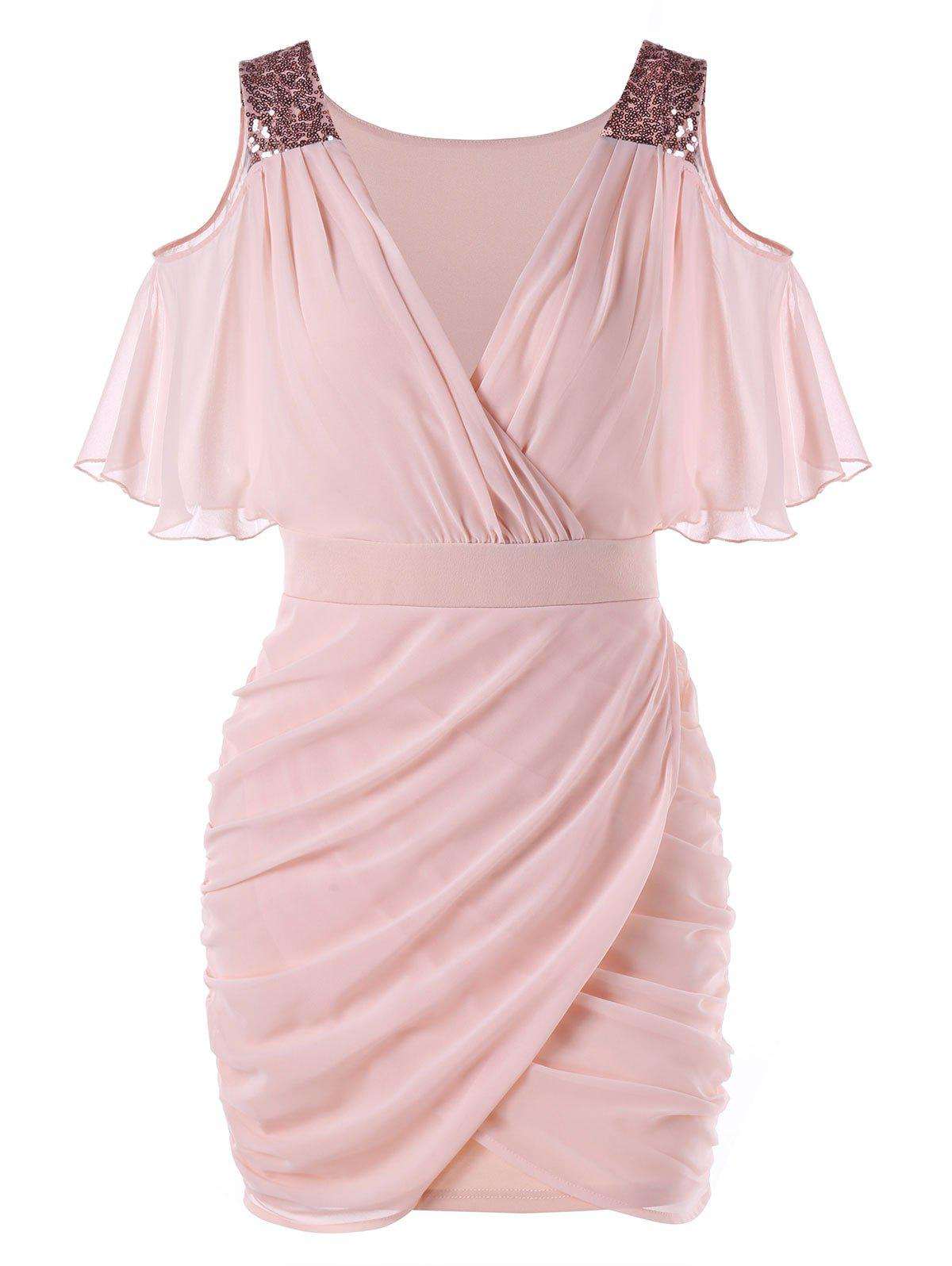 Open Shoulder Sequined Chiffon Dress - LIGHT PINK XL