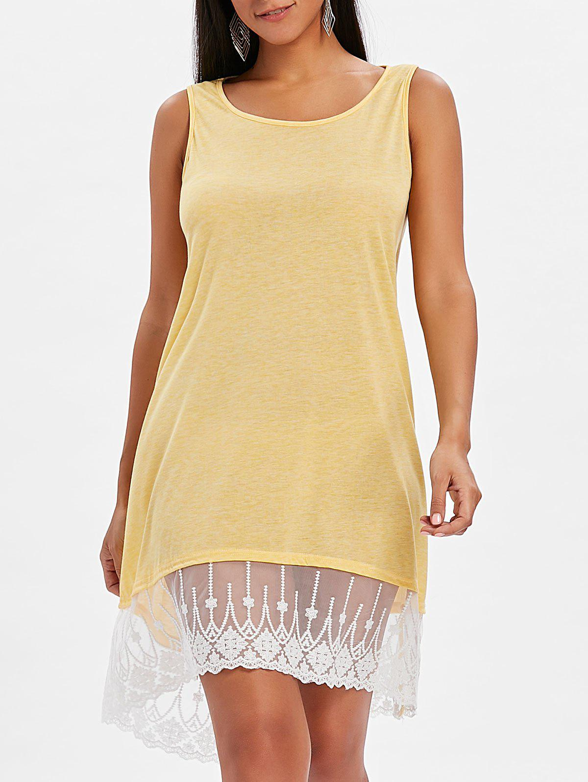 Round Neck Lace Panel Shift Dress - YELLOW 2XL
