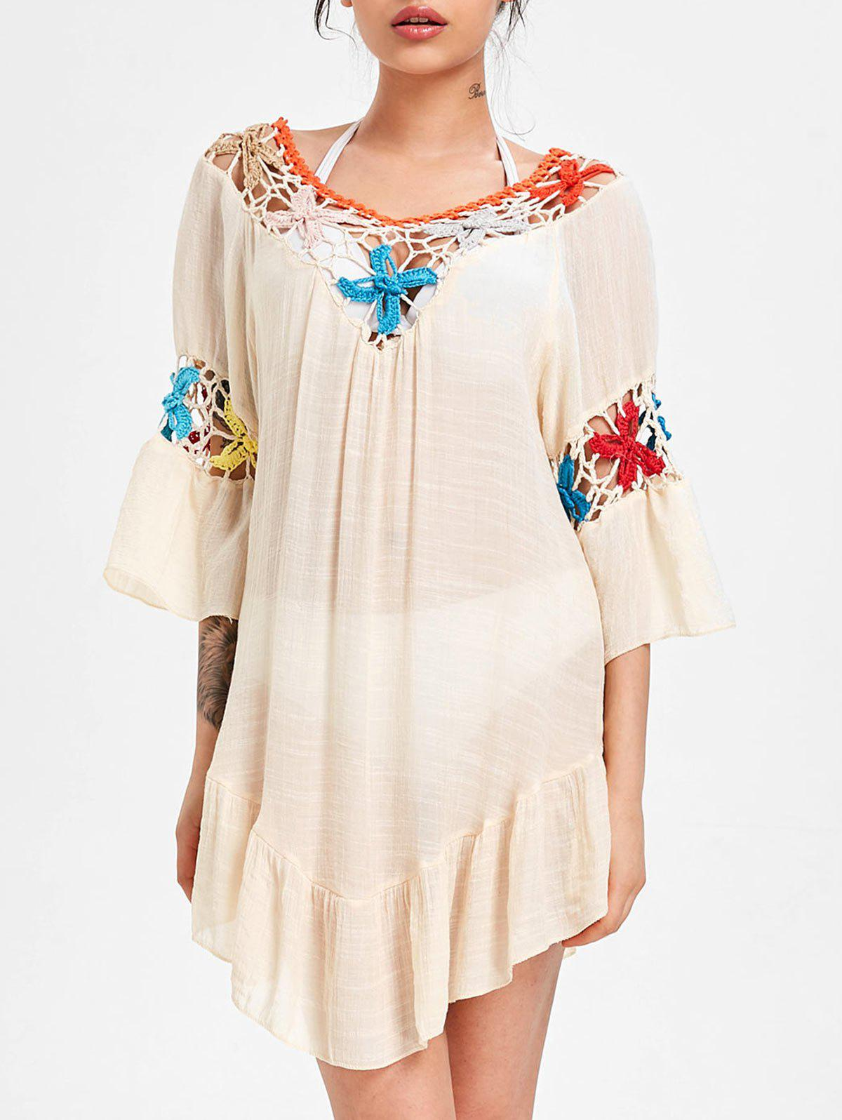 цена Flounce Crochet Panel Swing Cover Up Dress