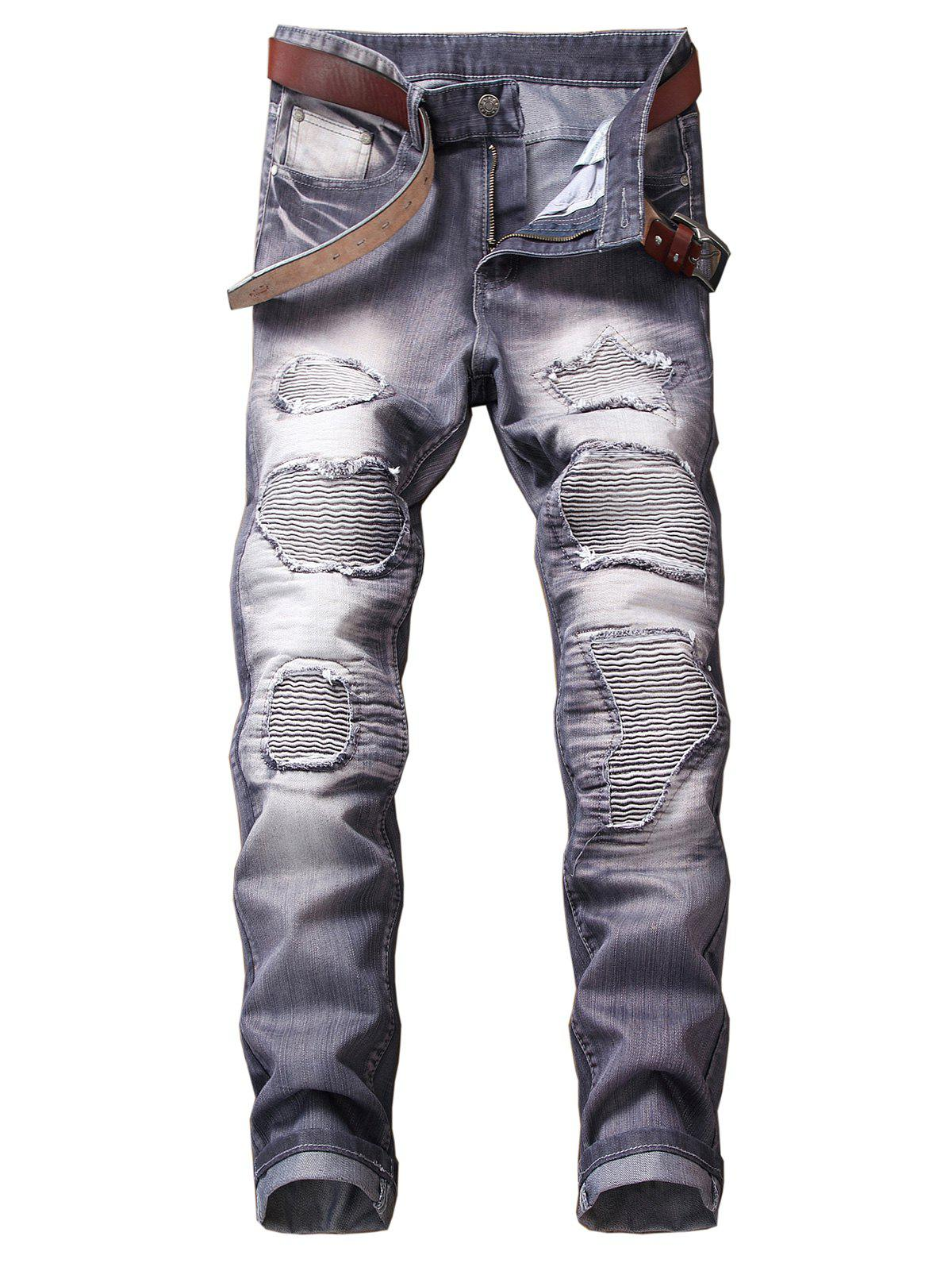Destroyed Biker Jeans with Straight Leg - SLATE BLUE 36