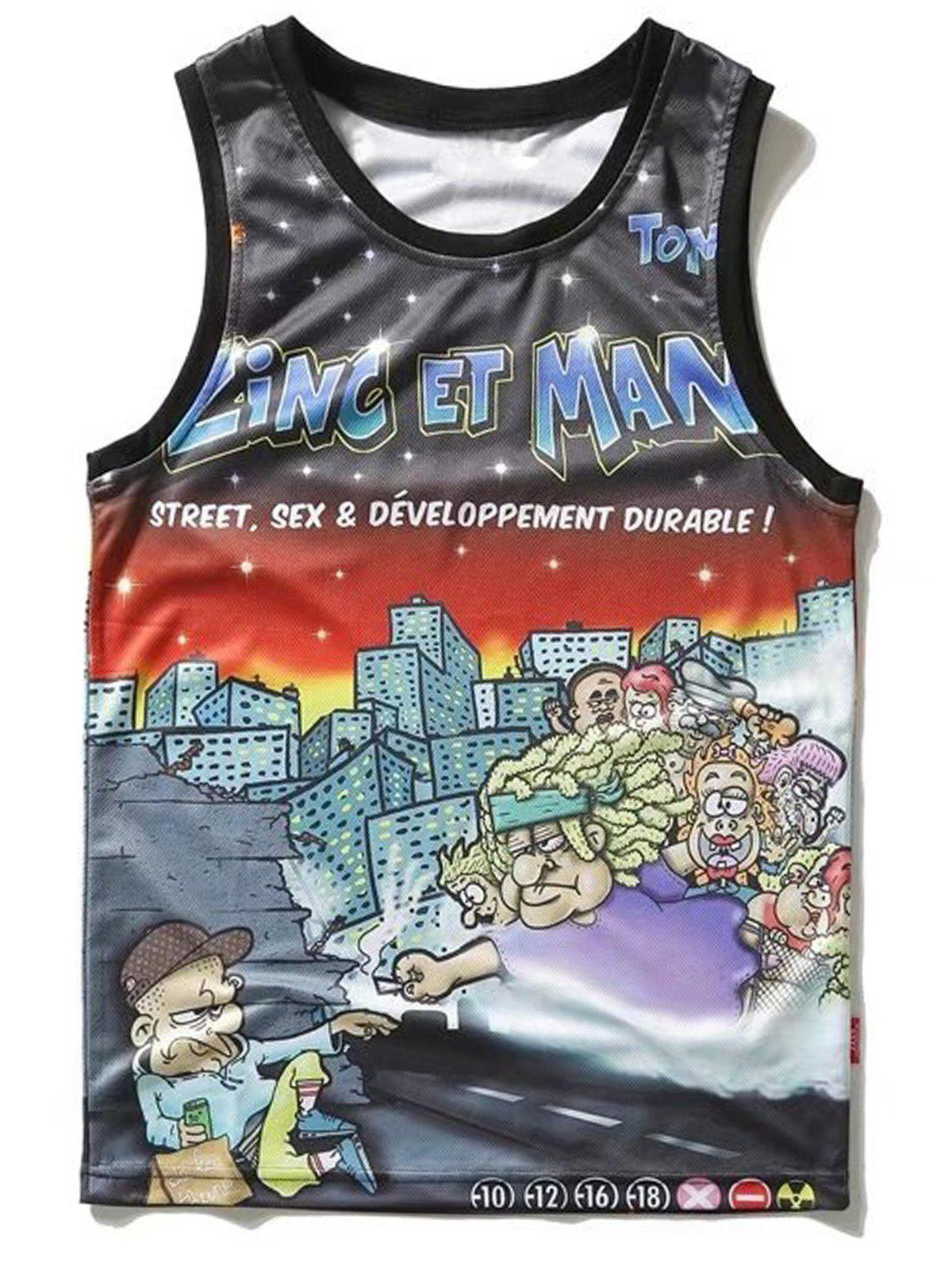 Cartoon Pattern Tank Top - multicolor S