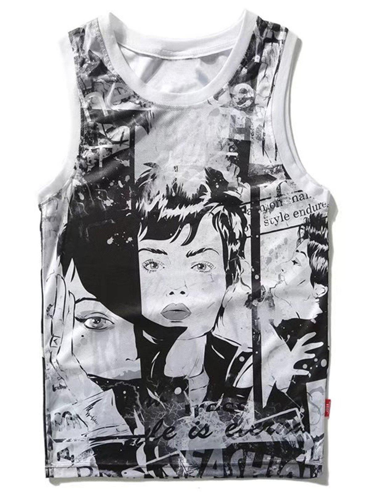 Cartoon Print Sport Tank Top - WHITE L