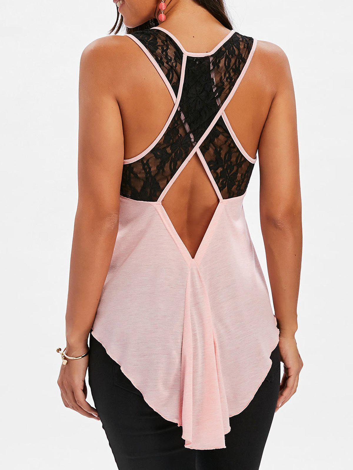 Criss Cross Lace Insert Tank Top - PINK BUBBLEGUM M