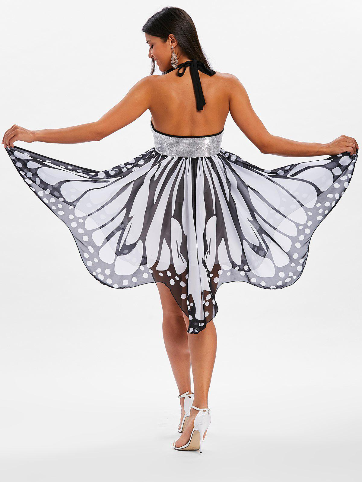 Sequins Backless Butterfly Dress - WHITE S