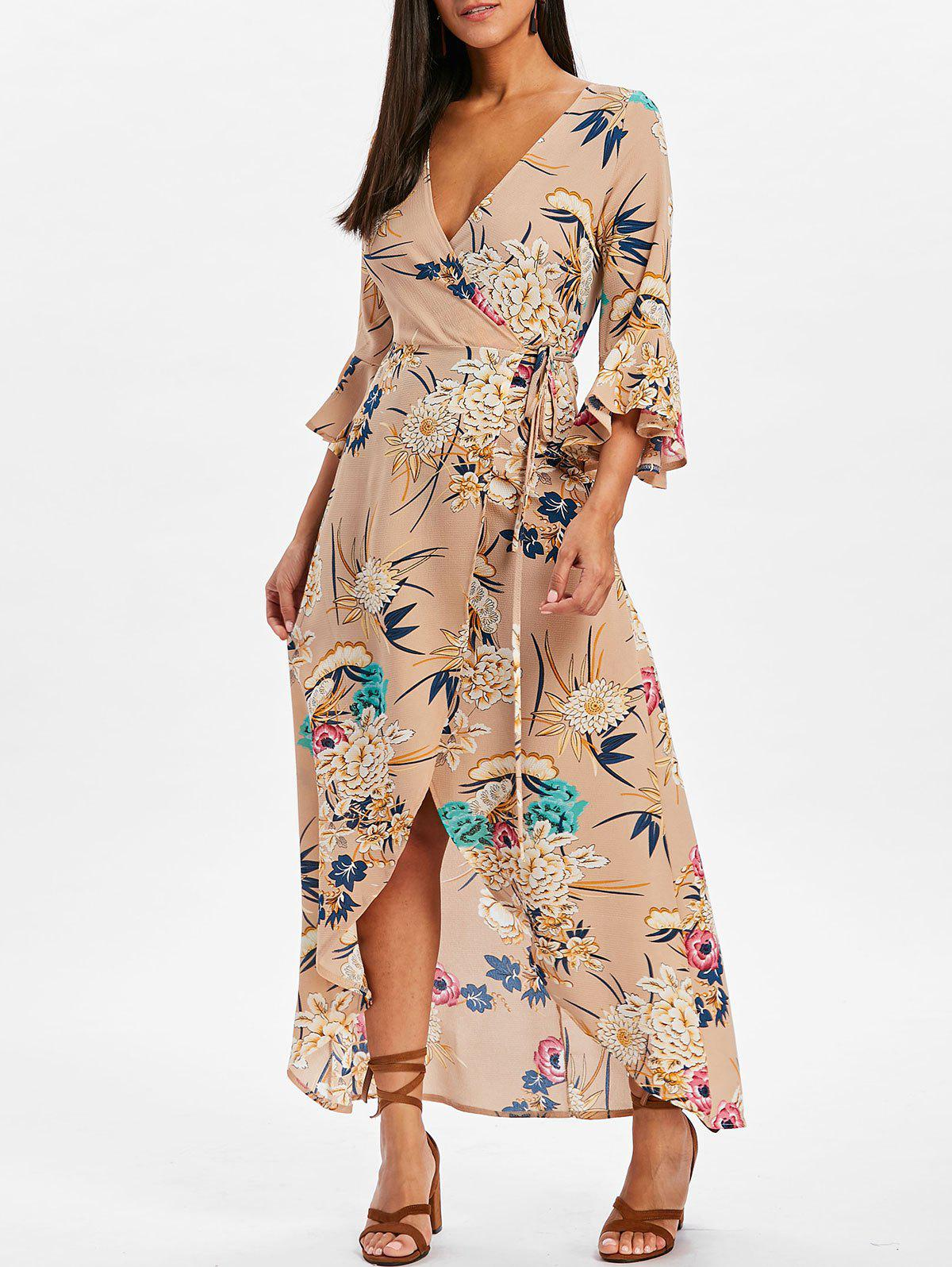 Bell Sleeve Floral Wrap Maxi Dress - LIGHT KHAKI M