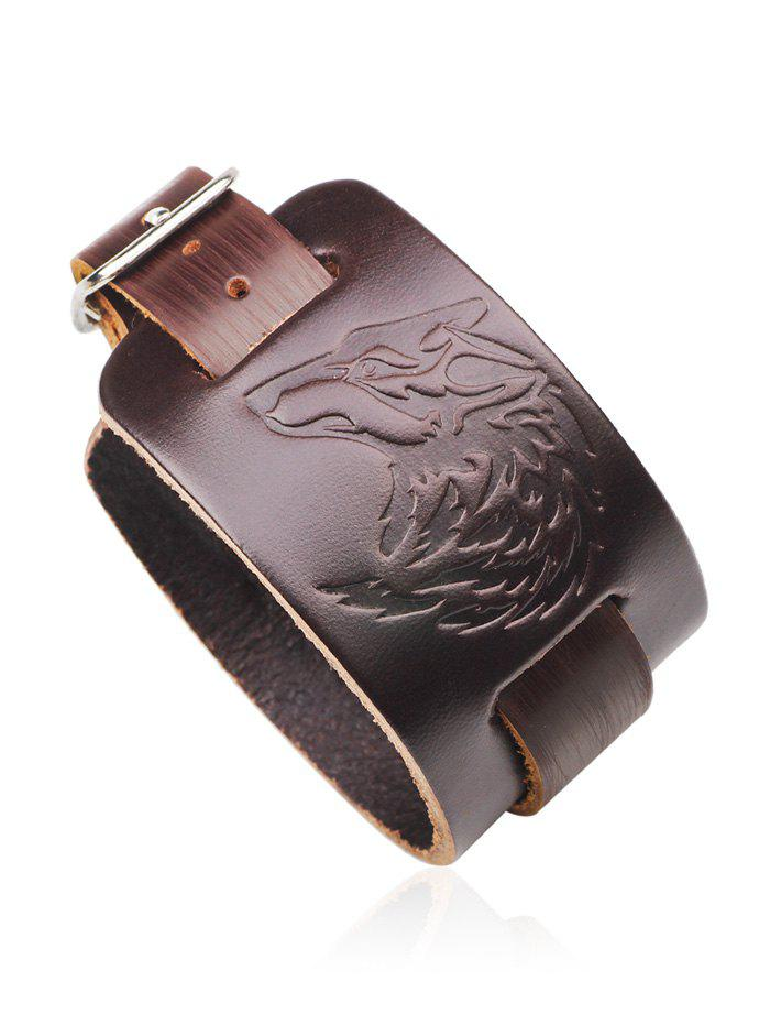 Punk Faux Leather Wolf Print Bracelet - DEEP BROWN