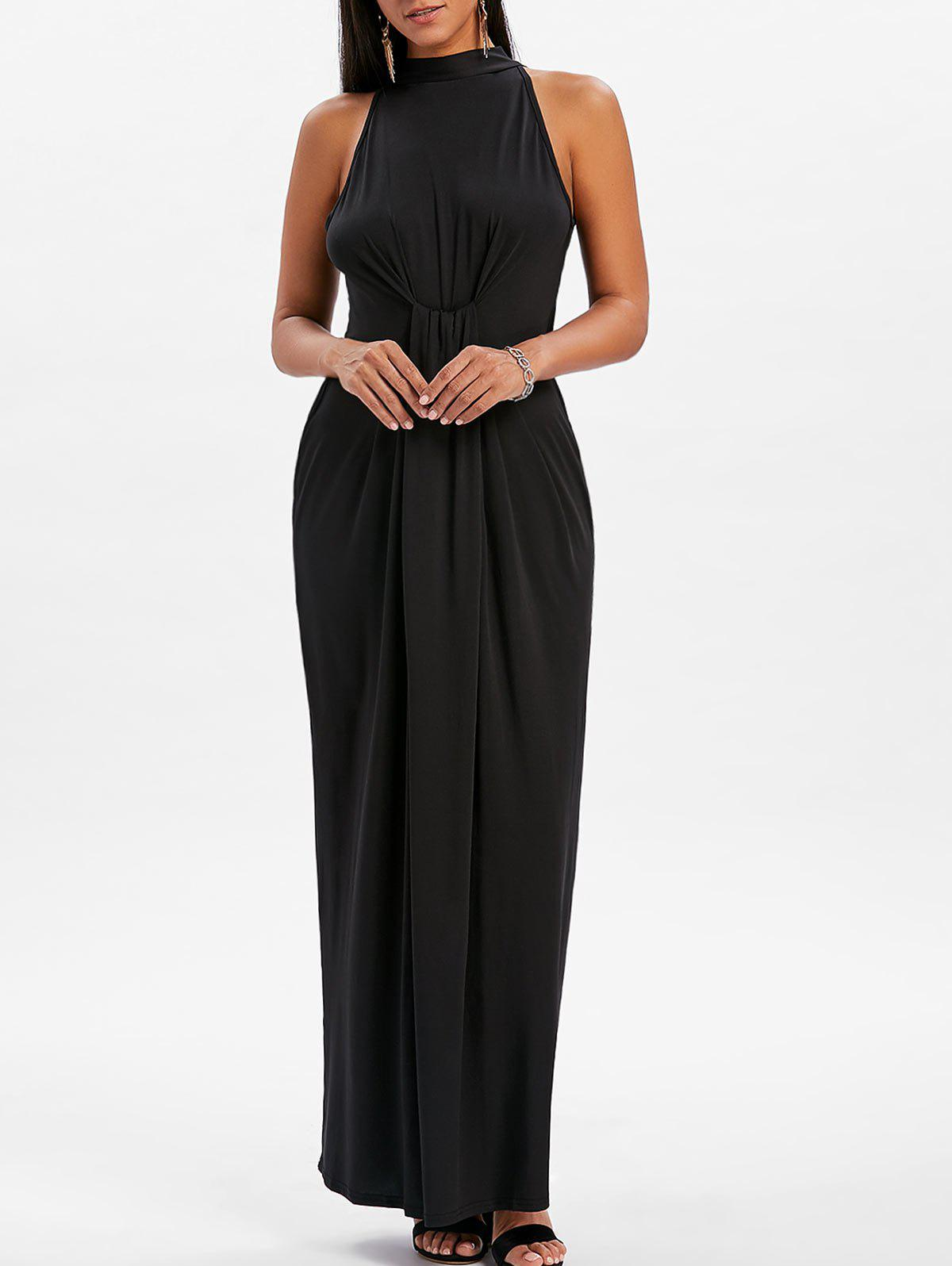 Knot Back Cut Out Maxi Dress - BLACK 2XL