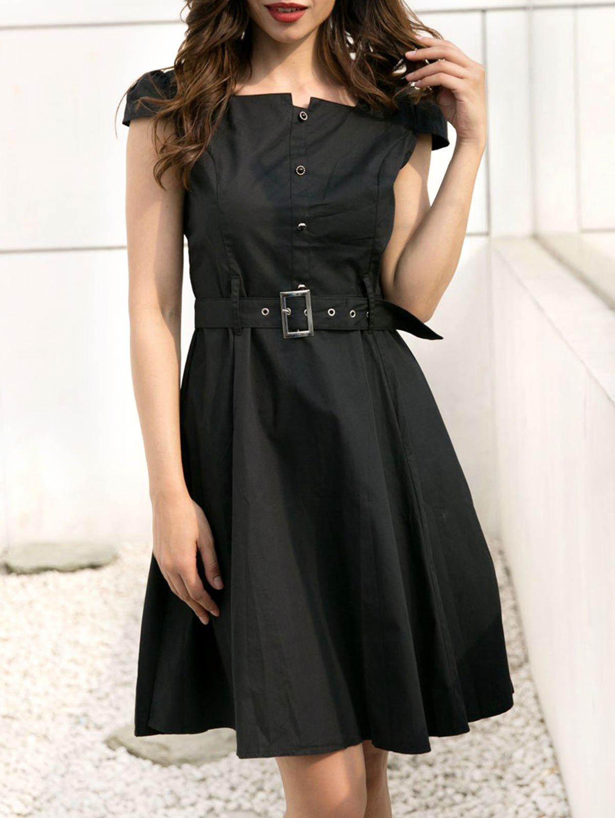Button Embellished Flare Retro Dress - BLACK L