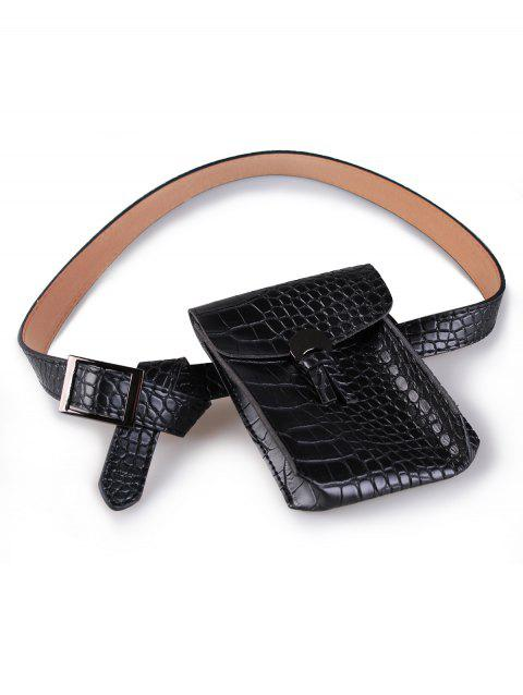 Vintage Funny Bag Crocodile Faux Leather Waist Belt - BLACK