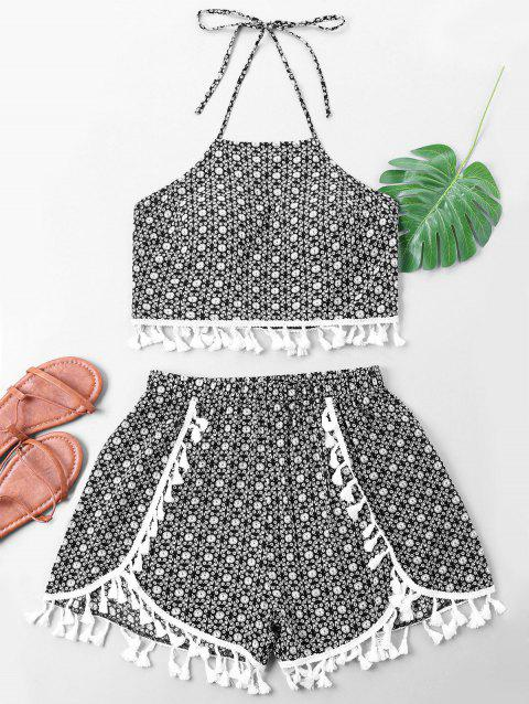 Allover Pattern Belly Top with Side Slit Shorts - BLACK M