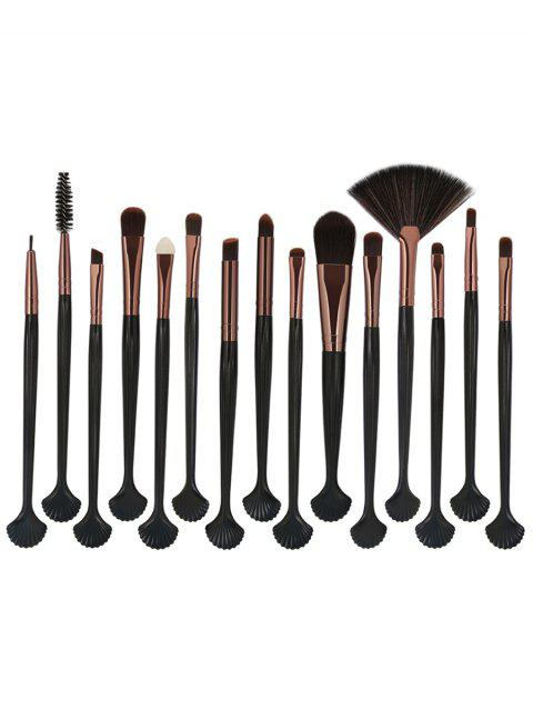 15Pcs Shell Shape Ultra Soft Eyeshadow Eyebrow Eye Makeup Brush Set - COFFEE