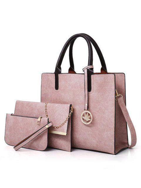 3 Pieces Simple Style Business Tote Bag Shoulder Bag Clutch Set - LIGHT PINK
