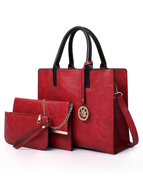 3 Pieces Simple Style Business Tote Bag Shoulder Bag Clutch Set - LOVE RED