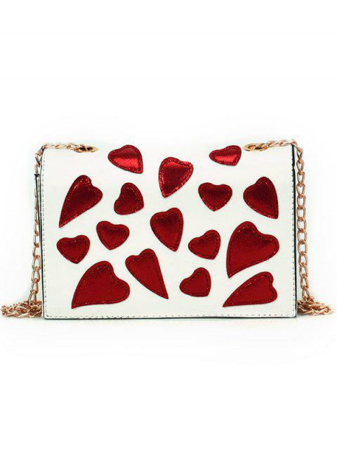 Heart Printed Patchwork Covered Chain Crossbody Bag - WHITE