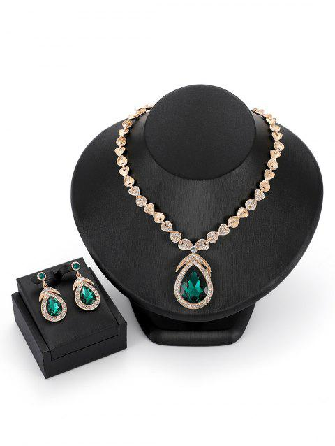 Faux Gemstones Drop Rhinestones Pendant Jewelry Set - GREEN