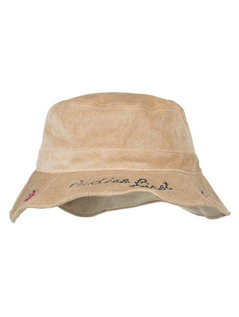 Animal Embroidery Sun Shades Bucket Hat - KHAKI ROSE