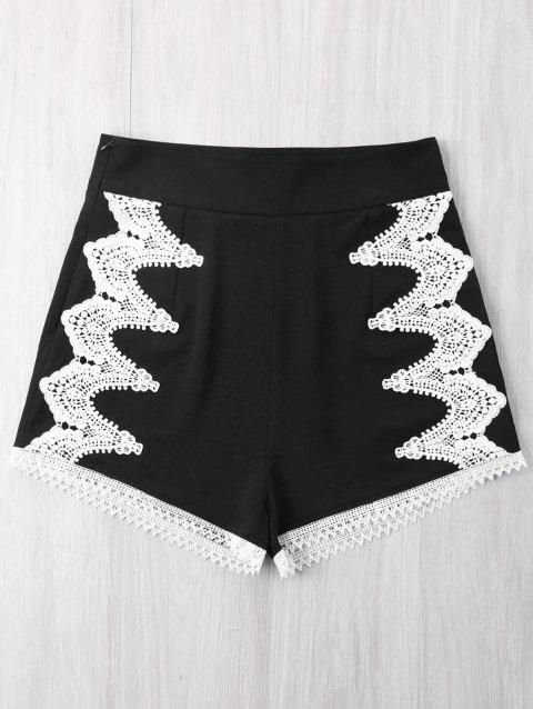Contrast Crochet Panel Shorts - BLACK M