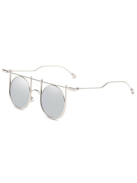 Anti UV Irregular Metal Frame Round Sunglasses - PLATINUM