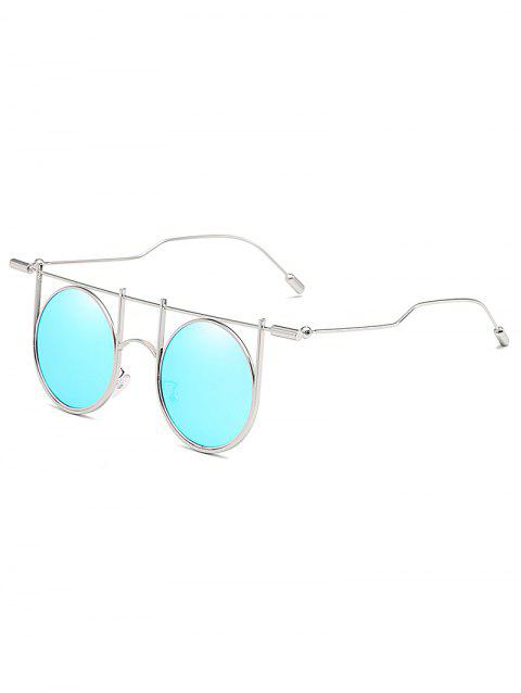 Anti UV Irregular Metal Frame Round Sunglasses - AQUAMARINE