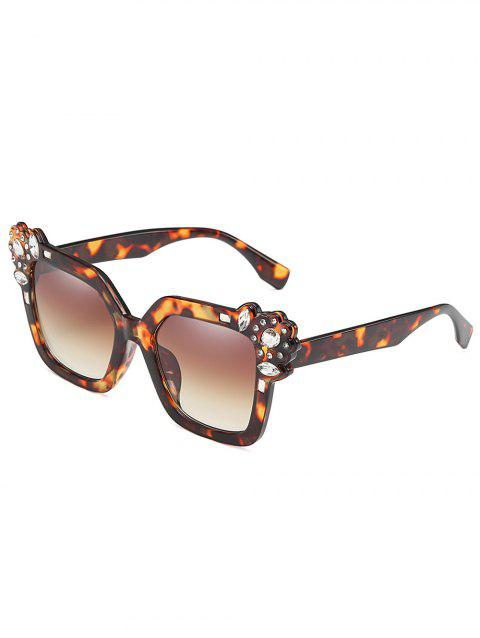 Rhinestone Inlaid Embellished Oversized Sunglasses - BROWN BEAR
