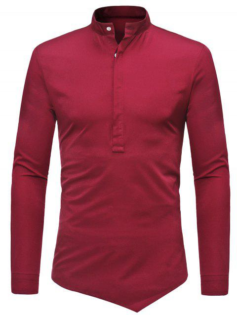 Mandarin Collar Half Button Asymmetric Tee - RED WINE S