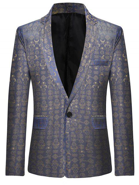 Retro Pattern One Button Lapel Blazer - SLATE BLUE S
