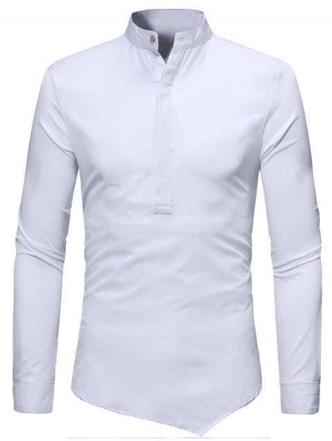 Mandarin Collar Half Button Asymmetric Tee - WHITE M