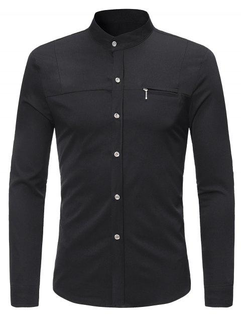 Zipper Embellished Mandarin Collar Shirt - BLACK L