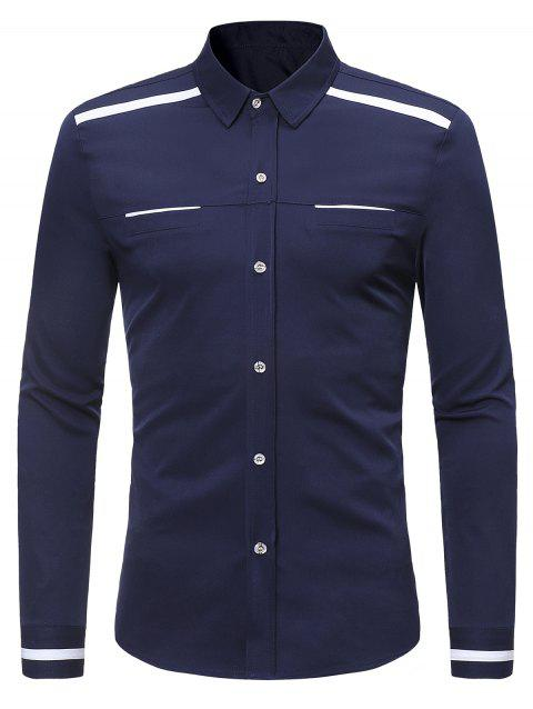 Long Sleeve Turndown Collar Contrast Shirt - MIDNIGHT BLUE M