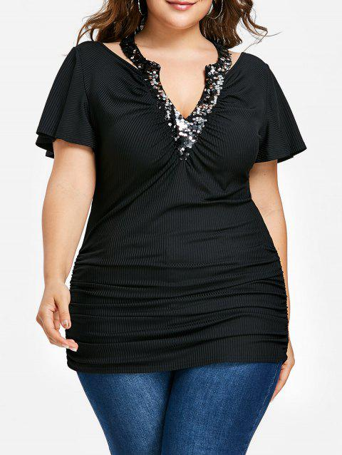 Plus Size Ribbed V Neck Sequined T-shirt - BLACK 5XL