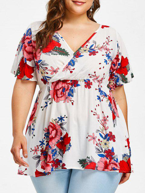 Empire Waisted Plus Size Floral Surplice Blouse - WHITE 3X