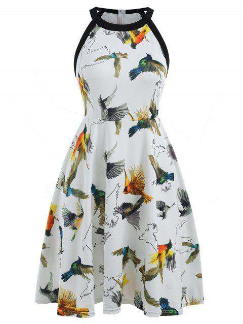 Round Neck Birds Print Fit and Flare Dress - WHITE XL