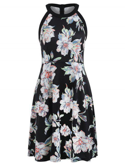 Sleeveless Floral Print Vintage Dress - multicolor M
