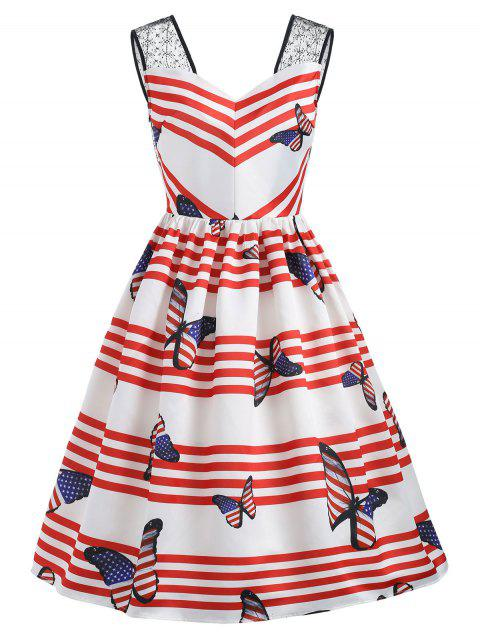 Sweetheart Neck Butterfly Print Stripe Swing Dress - RED 2XL