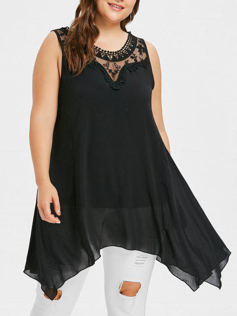 Plus Size Sleeveless Mesh Panel Asymmetric Top - BLACK 3X
