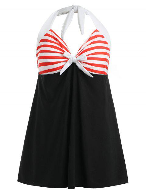 Halter Neck Striped Skirted One Piece Swimwear - COLORMIX M