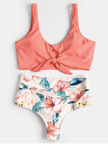 High Rise Knotted Floral Scrunch Bikini Swimwear
