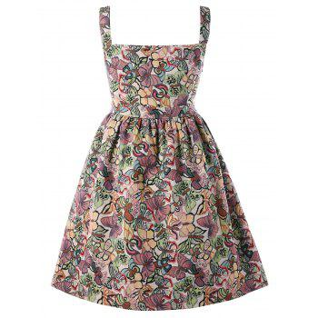 Plus Size High Waisted Butterfly Dress - multicolor 2XL