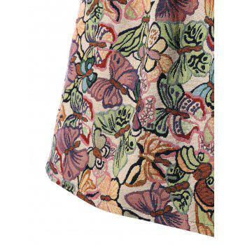 Plus Size High Waisted Butterfly Dress - multicolor 3XL