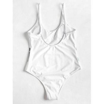 Palm Leaf Padded One Piece Bathing Suit - WHITE S