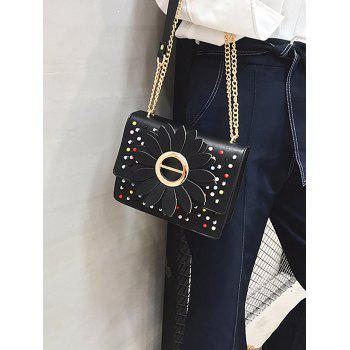 Sun Flower Beaded Embellished Shoulder Bag - BLACK