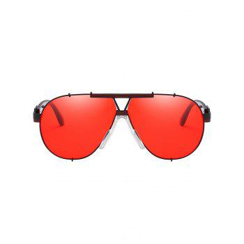 Anti Fatigue Metal Full Frame Shield Sunglasses - GRAPEFRUIT