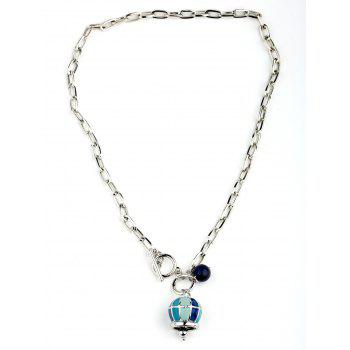 Crown Ball Pendant Chain Innovative Toggle Necklace - SILVER