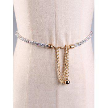 Rhinestone Inlaid Glitter Shimmer Dress Belt - WHITE