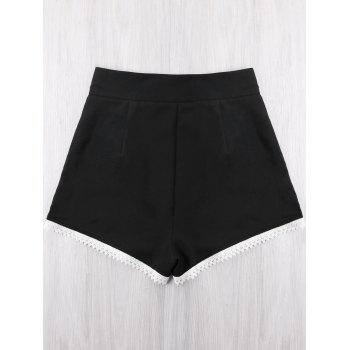 Contrast Crochet Panel Shorts - BLACK XL