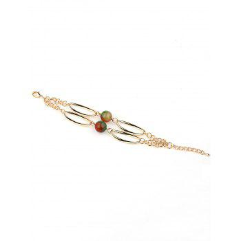 2 Layers Faux Ball Gemstones Chain Adjustable Bracelet - GOLD