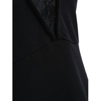 Asymmetrical Lace Panel Mini Dress - BLACK L