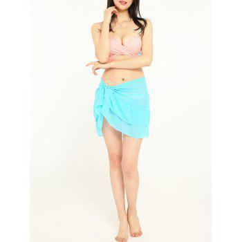 Simple Solid Color Double Layers Long Scarf - CYAN OR AQUA ONE SIZE
